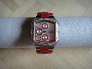 Guess Uhr Plastikarband Pink Silber Strass Steine I15057l3 Mit Box Bild