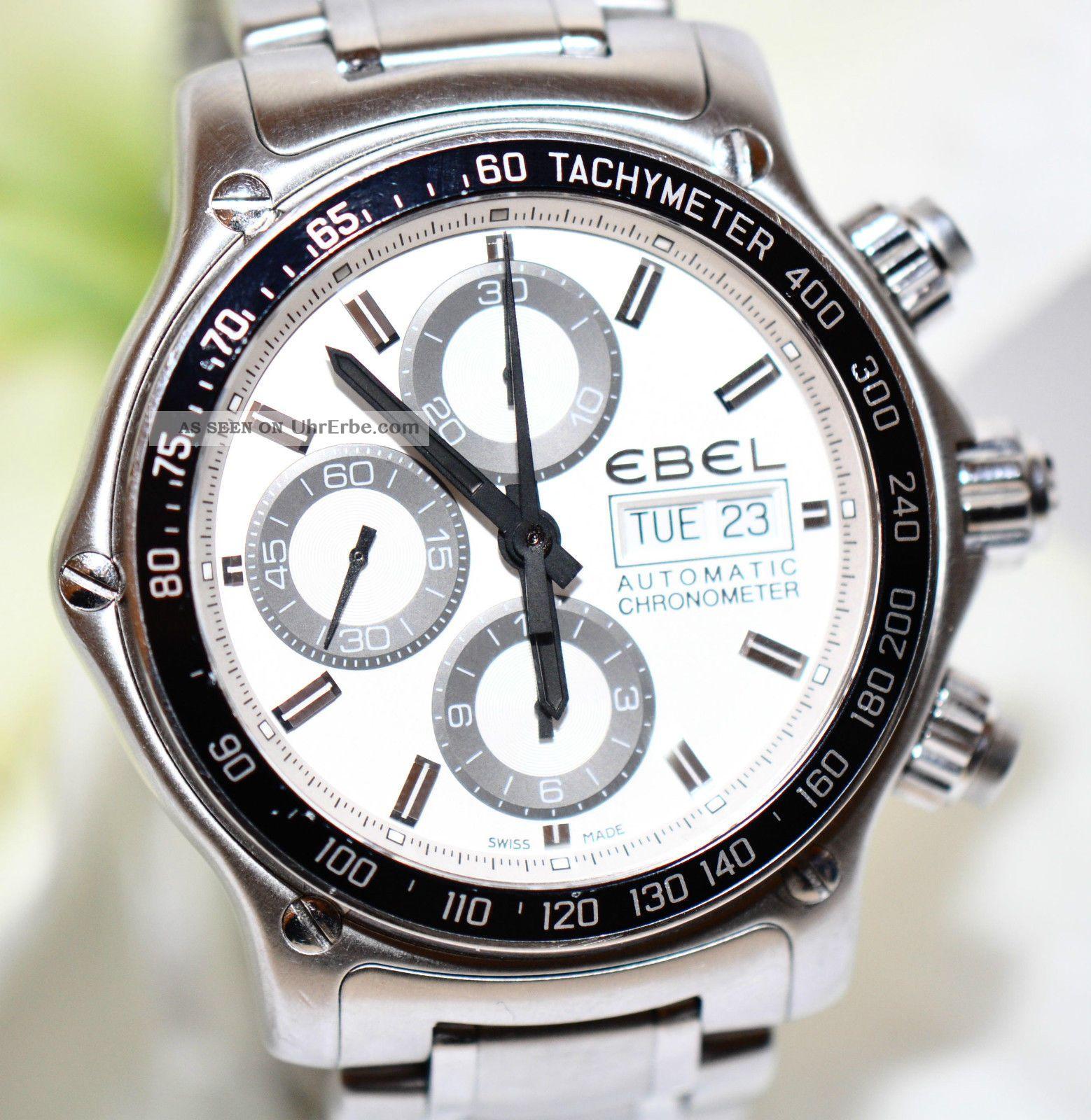 Ebel Chronograph Stahl Uhr 1911 Discovery Chronometer Ref.  1215795 Papiere 2013 Armbanduhren Bild