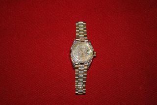 Rolex Lady Datejust President 18 Kt.  Gold Pave Zifferblatt Bild