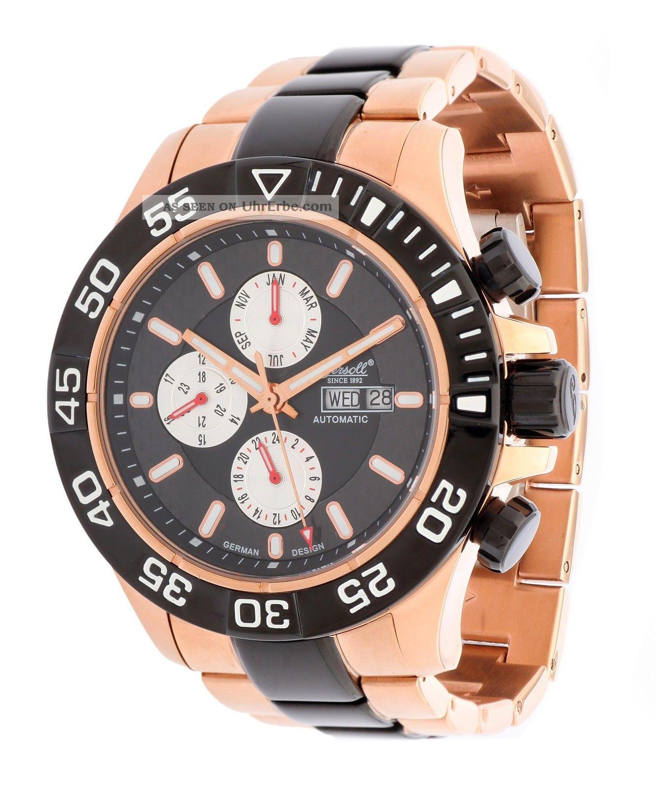 Ingersoll Herren Automatik Uhr Pico Rotgold In1627rbkm Armbanduhren Bild