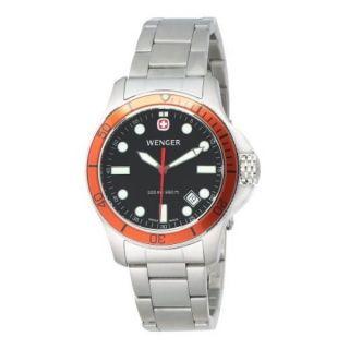 Taucher Uhr Herren Wenger Battalion Iii Orange Einfassung Stahl Armband 72347 Bild