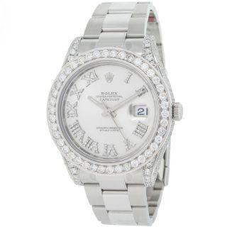 Armbanduhr Herren Rolex Datejust Ii 116334 Maßgefertigt 8.  55k Diamant Edelstahl Bild