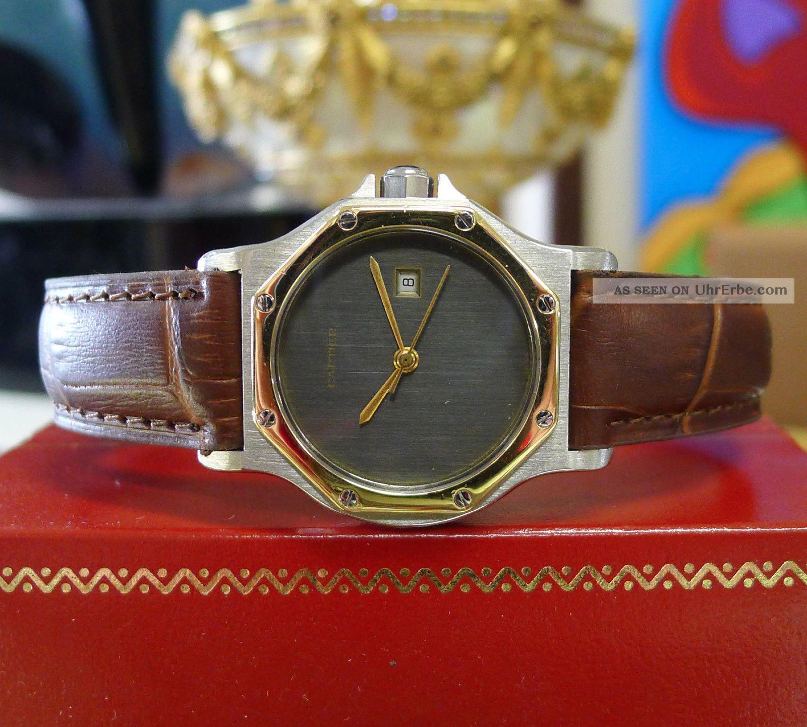 Herren Mitte Größe Cartier Santos Octagon Gelbgold Stahl Mit Datumsanzeige Armbanduhren Bild