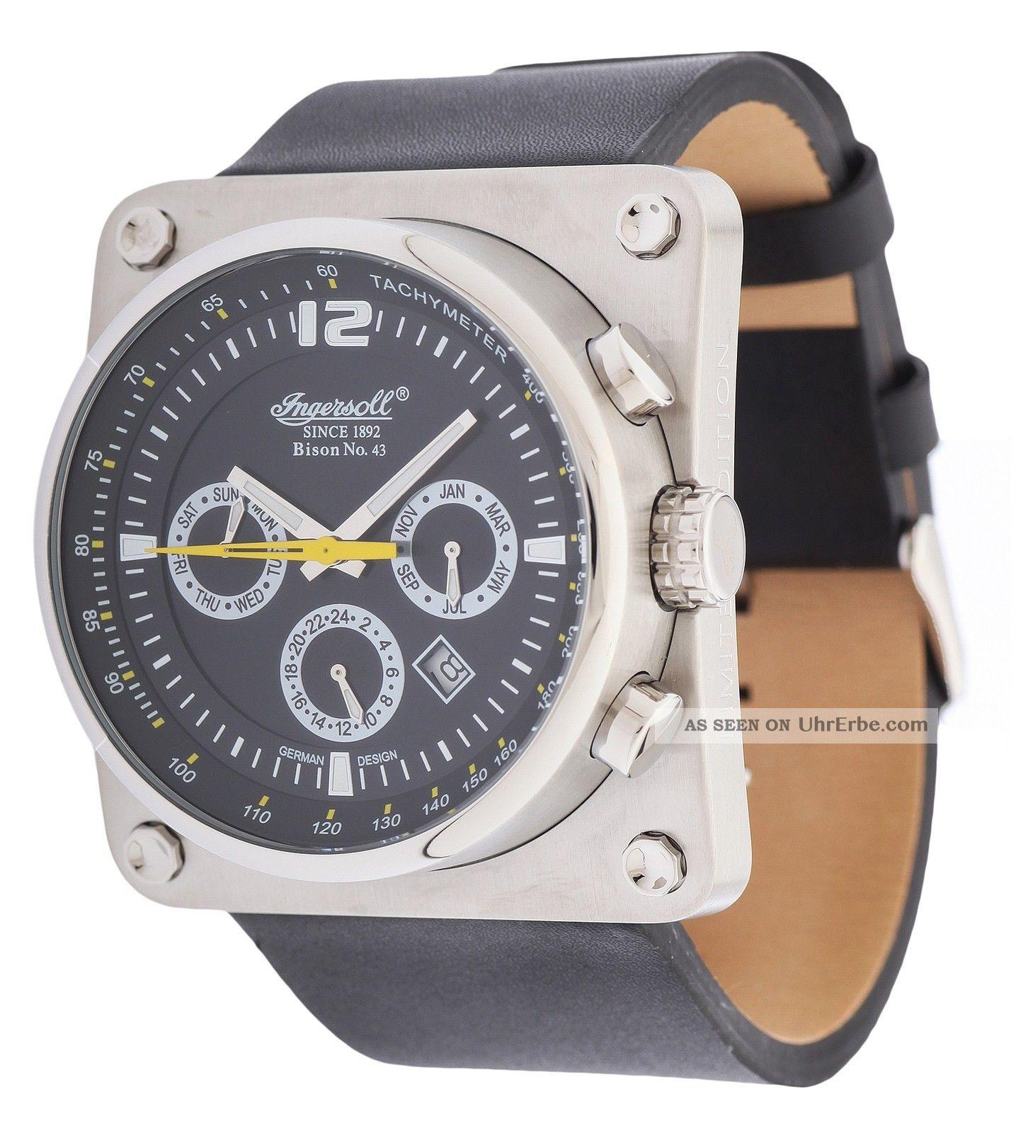 Ingersoll Herren Automatik Uhr Bison No.  43 Schwarz In4108sbk Armbanduhren Bild