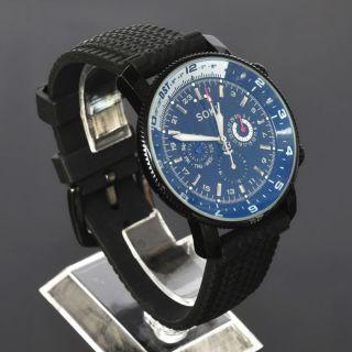 Sport Soki Herren Schwarz Automatik Mechanische Analog Gummi Armband Uhr Bild