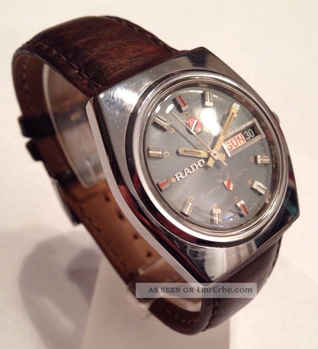 Rado Purple Sabre Automatik Tages - Datumsanzeige Generalüberholt Armbanduhren Bild