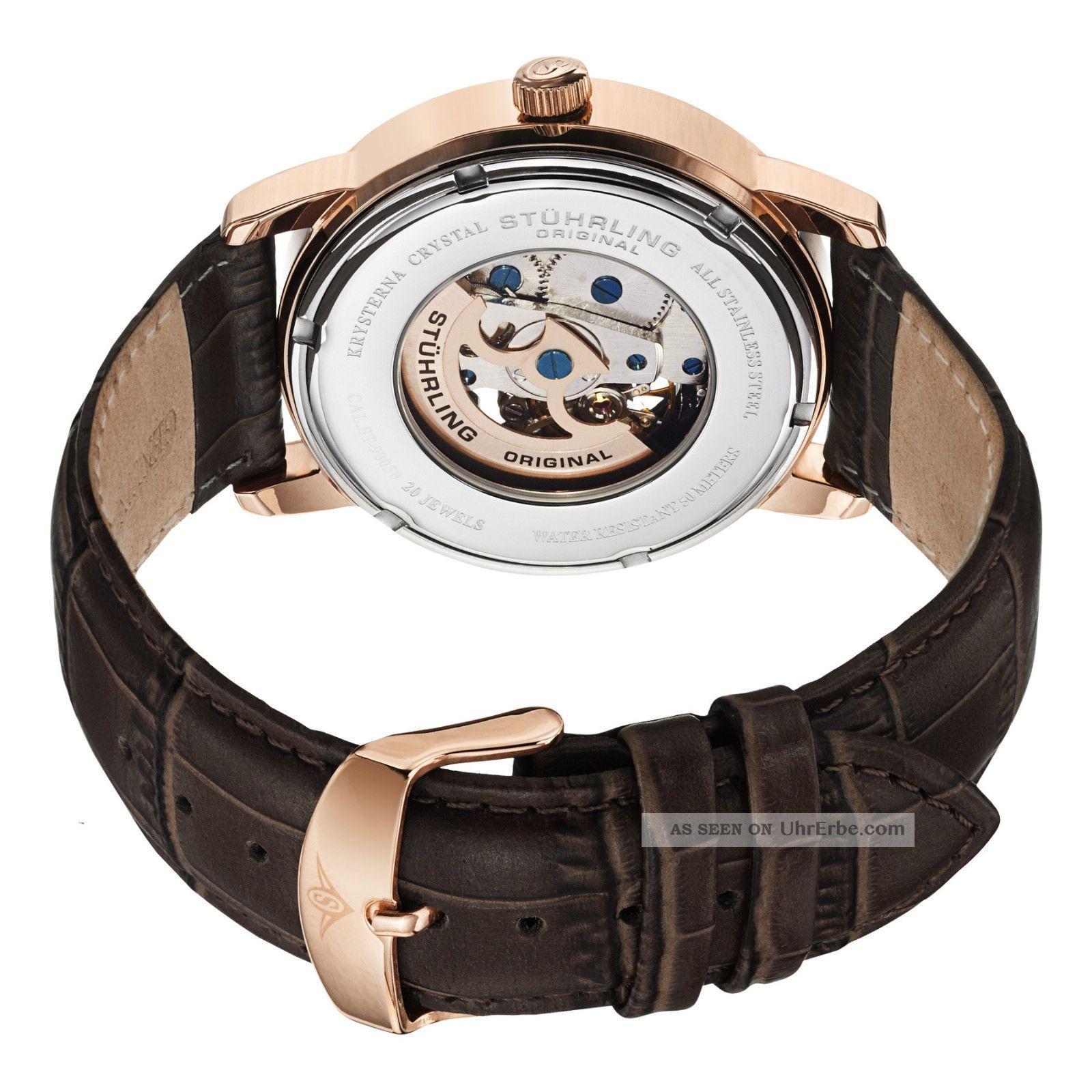 stuhrling delphi oracle rose gold herren automatik uhr lederband uvp 450. Black Bedroom Furniture Sets. Home Design Ideas