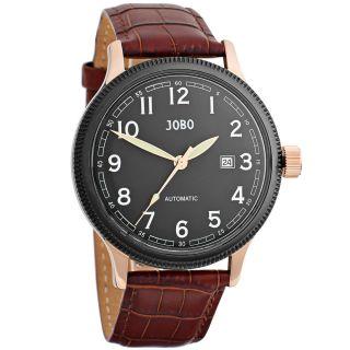 Jobo Automatic Herren Armbanduhr Edelstahl Rose Vergoldet Glasboden Leder Bild