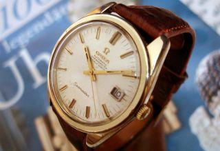 Seltener Omega Seamaster Chronometer 14k Vollgold Lünette/st Aut Mit Box - - - Etui Bild