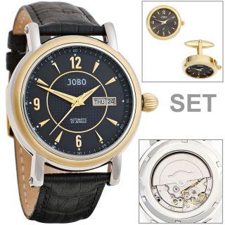 Jobo Automatic Herren Armbanduhr Edelstahl Teilvergoldet Glasboden Leder Bild