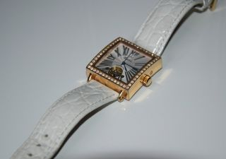 Engelhardt Damen - Armbanduhr,  Automatik Eckig Weiß Strass Gold - Rose Bild