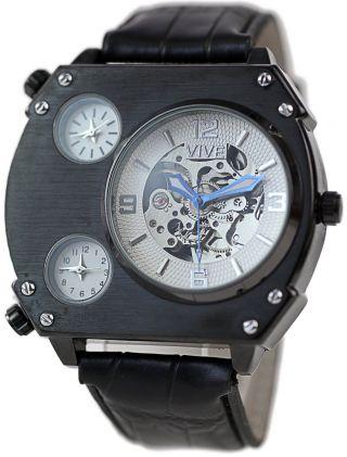 Exklusive Automatik Uhr Triple Temps Mit Lederarmband Schwarz Chrono Skelett Sil Bild