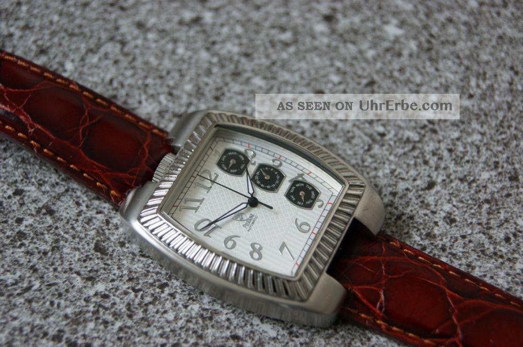 Schicke Design Herrenuhr Von Pierrini Hochwertiges Automatikwerk Glasboden Top Armbanduhren Bild