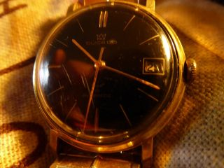 Hau Ducado Uhr Automatik 60er Jahre Schwarzes Zifferblatt Goldfarbenem Armband Bild