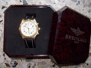 Breitling Chronomat Neuwertig Gelbgold Leder Gold Faltschließe Box/papiere Bild