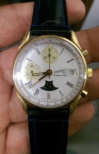 Eberhard & Co Limitiert Chronograph Mondphase Gold Mantel Herrenuhr Bild