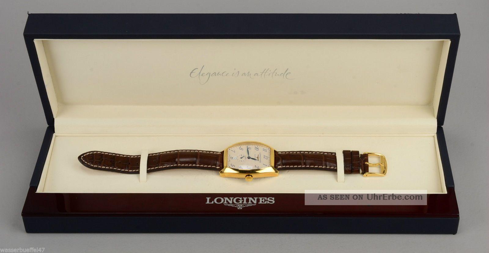 Longines Evidenza Automatic 18 Ct.  Gold Mit Lederband In Orig.  Box Armbanduhren Bild