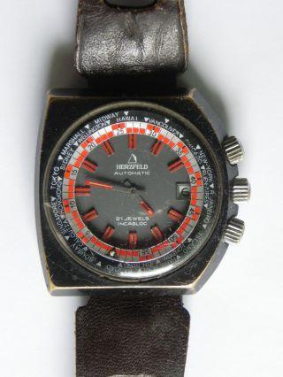 Alte Herzfeld Herrenarmbanduhr Automatic Armbanduhr Uhr Uhren 21 Jewels Selten Bild