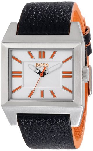 Hugo Boss Orange - Big Ben Platz Herren Schwarz Leder Uhr - In Der Box Bild