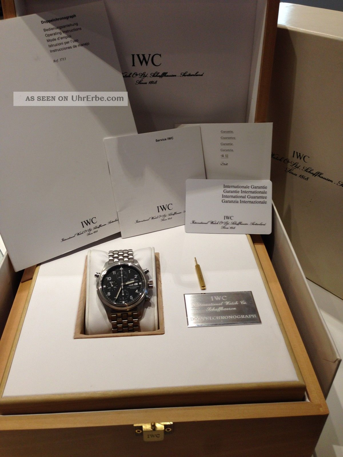 Iwc 3713 Doppelchronograph Komplettes Paket In Aus 1.  Hand Armbanduhren Bild