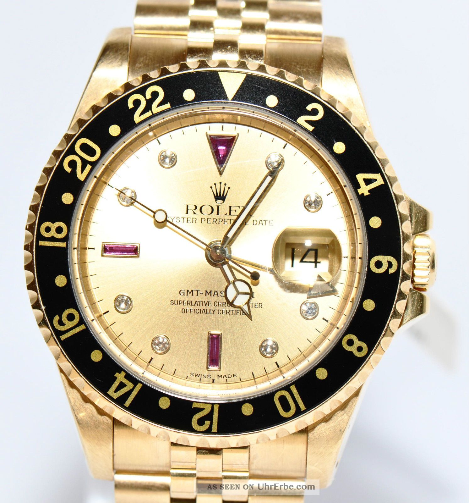 rolex gmt master ii sultan diamant rubin zifferblatt gold. Black Bedroom Furniture Sets. Home Design Ideas