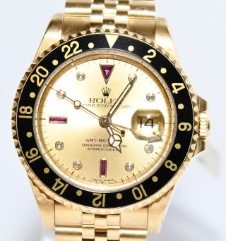 Rolex Gmt Master Ii Sultan Diamant Rubin Zifferblatt Gold Uhr Ref.  16718 Papiere Bild