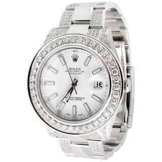 Rolex Datejust Ii Armbanduhr Herren 2 Diamanten Weiß Edelstahl 9.  06 Ct 45mm Uhr Bild