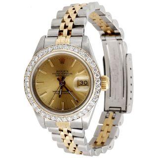 Damen - 2 - Ton Rolex Datejust Diamant - Uhr Jubiläums 18k / Stahlband 26 Mm (2k) Bild