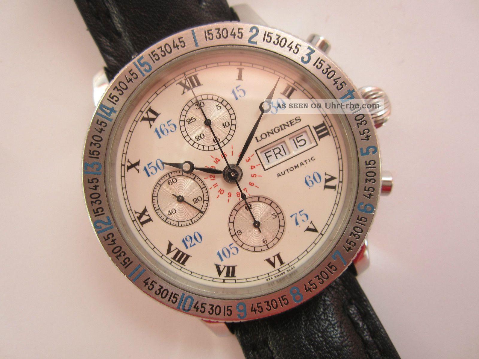 Longines Charles Lindbergh Chronograph Automatic Stundenwinkel Uhr Glasboden Armbanduhren Bild