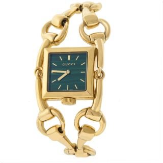 Gucci 116 Signoria Ya116305 18k Gold Grün Malachite Zifferblatt Damenuhr Bild