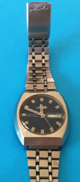 Mido Coral Star Datoday.  Cal.  1157cd.  Swiss Made.  Rare.  Vintage Bild