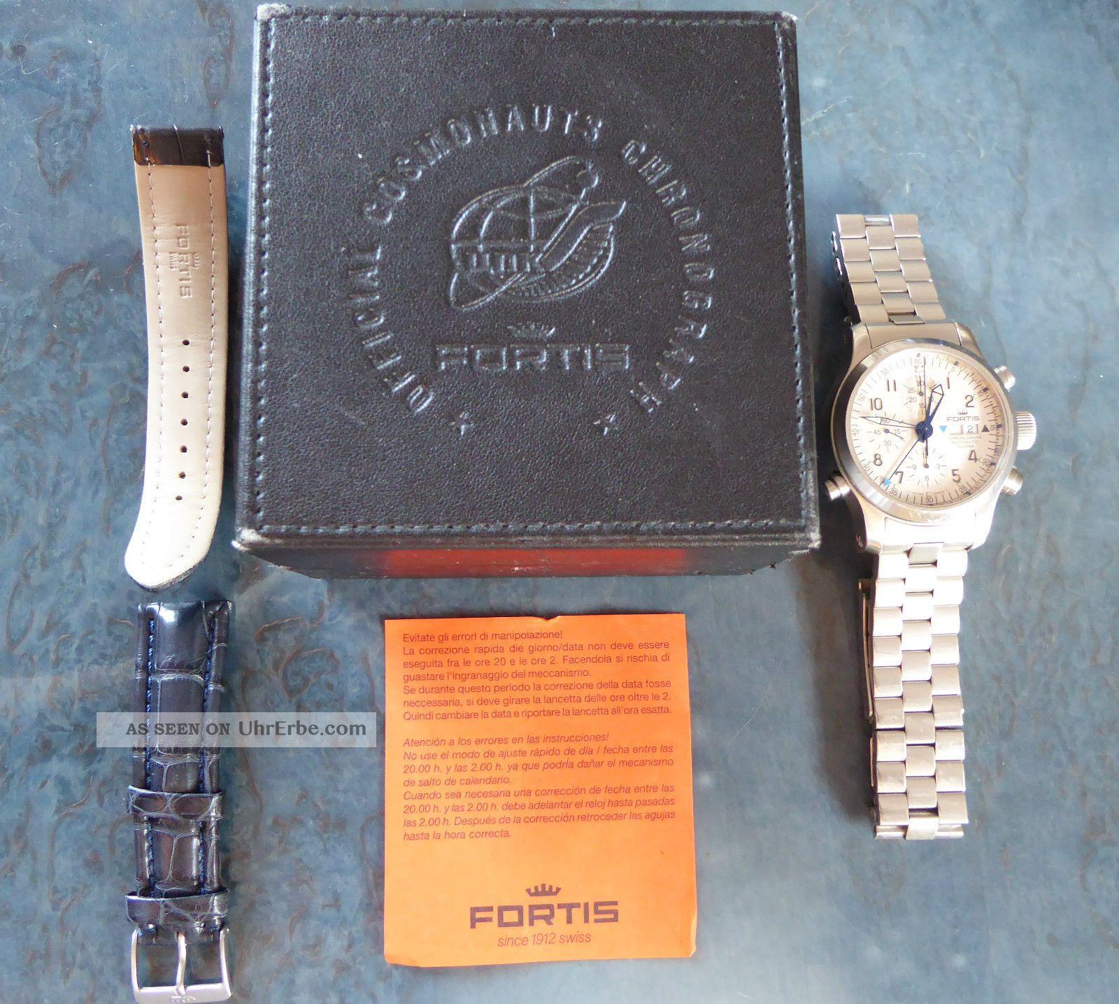 Fortis B - 42 Flieger Chronograph Alarm,  Box,  Stahl - U.  Neuem Orig.  - Lederarmband Armbanduhren Bild