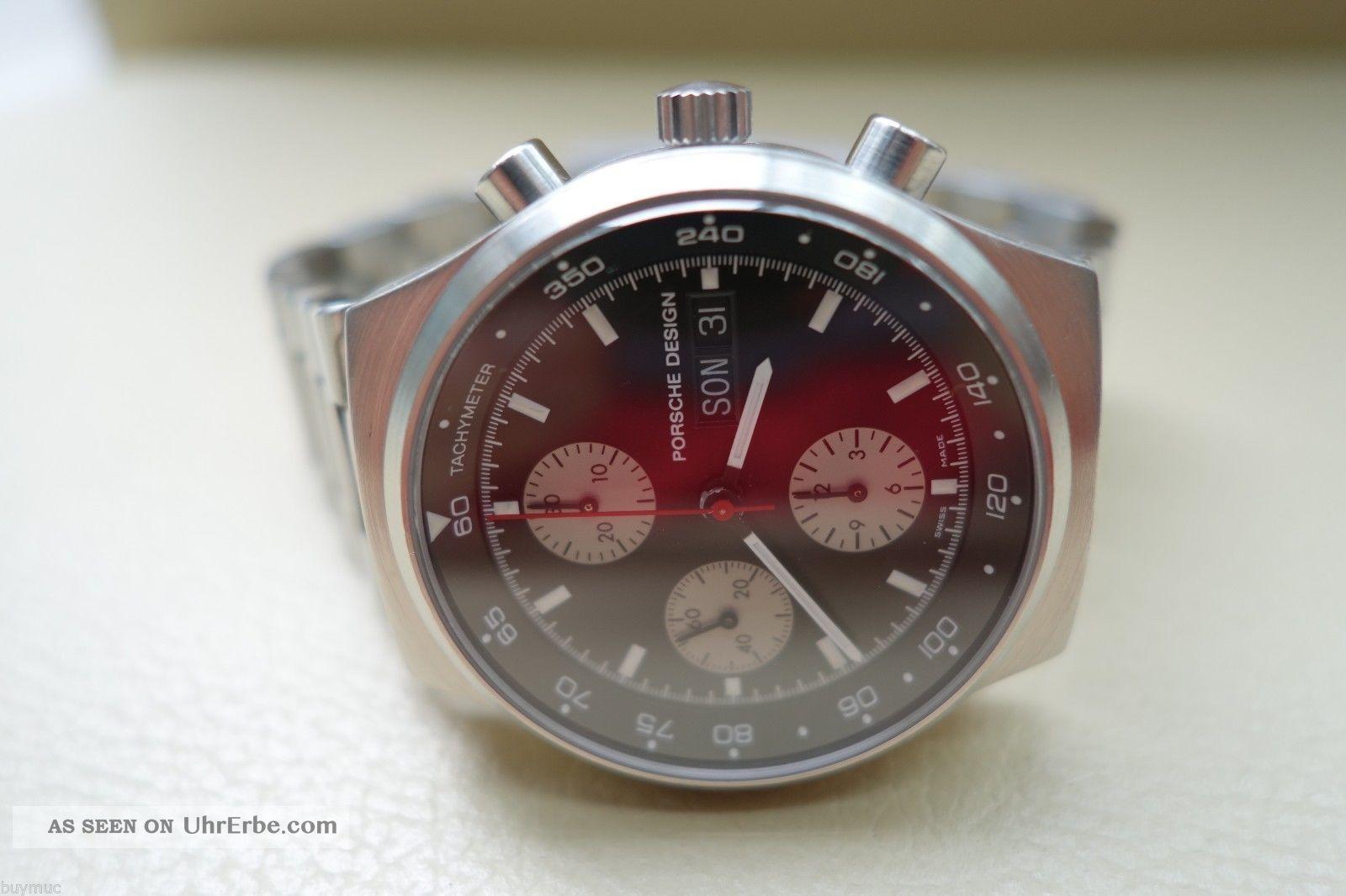 Neuwertige Sportliche Eterna Porsche Design Chronograph Automatic Uhr In Stahl Armbanduhren Bild