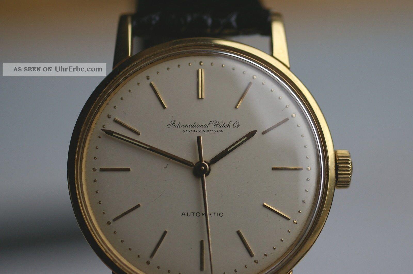 Iwc Schaffhausen Automatic Swiss Goldarmbanduhr Kaliber 853 Ca.  1960 Sammleruhr Armbanduhren Bild