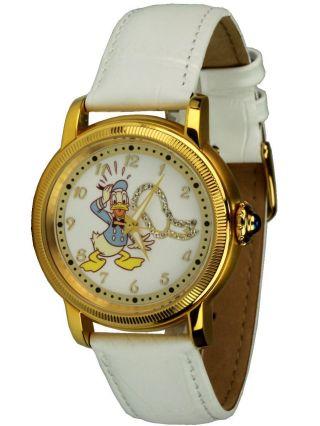 Disney Automatikuhr Mit Donald Duck Motiv Weiße Unisexuhr - Edelstahl Ip Gold, Bild