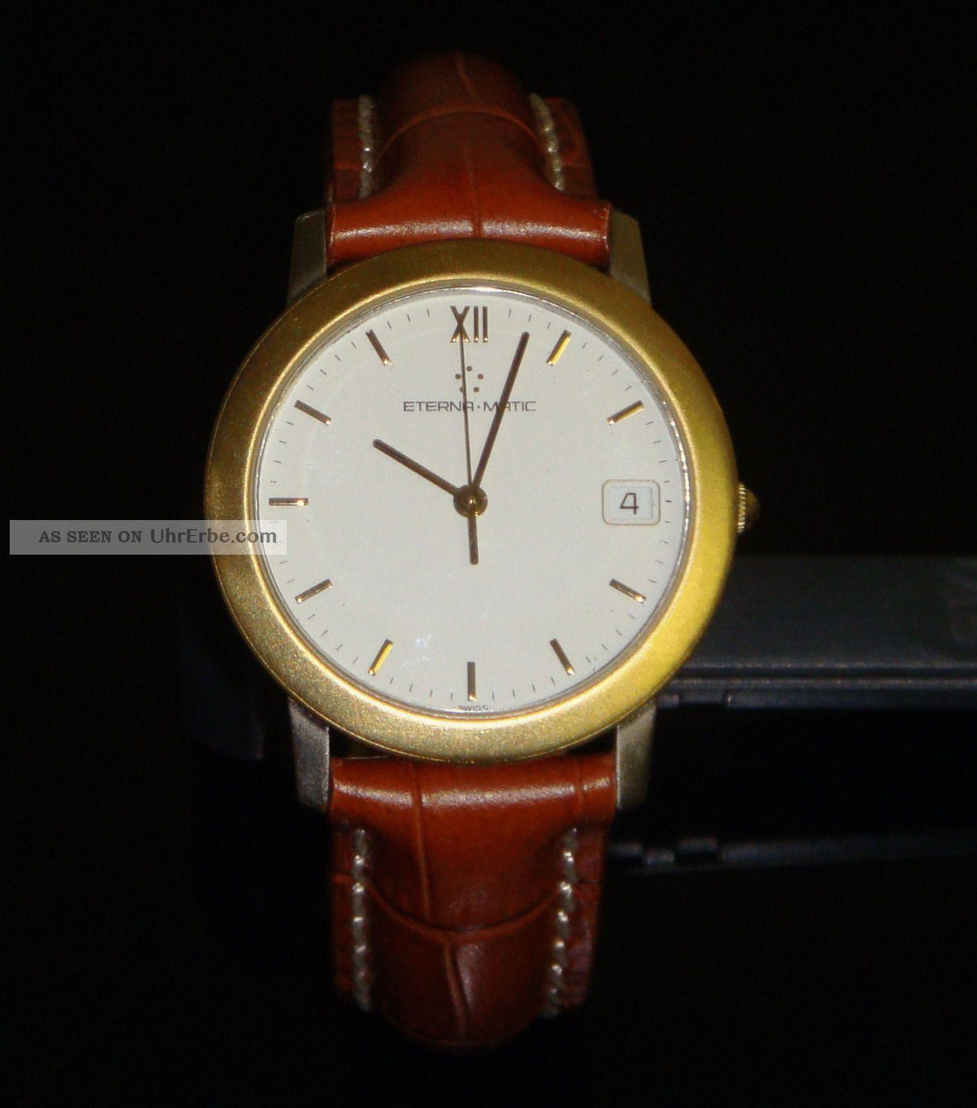 Eterna Matic Armbanduhr 1856 Edelstahl Mit Goldlünette Armbanduhren Bild