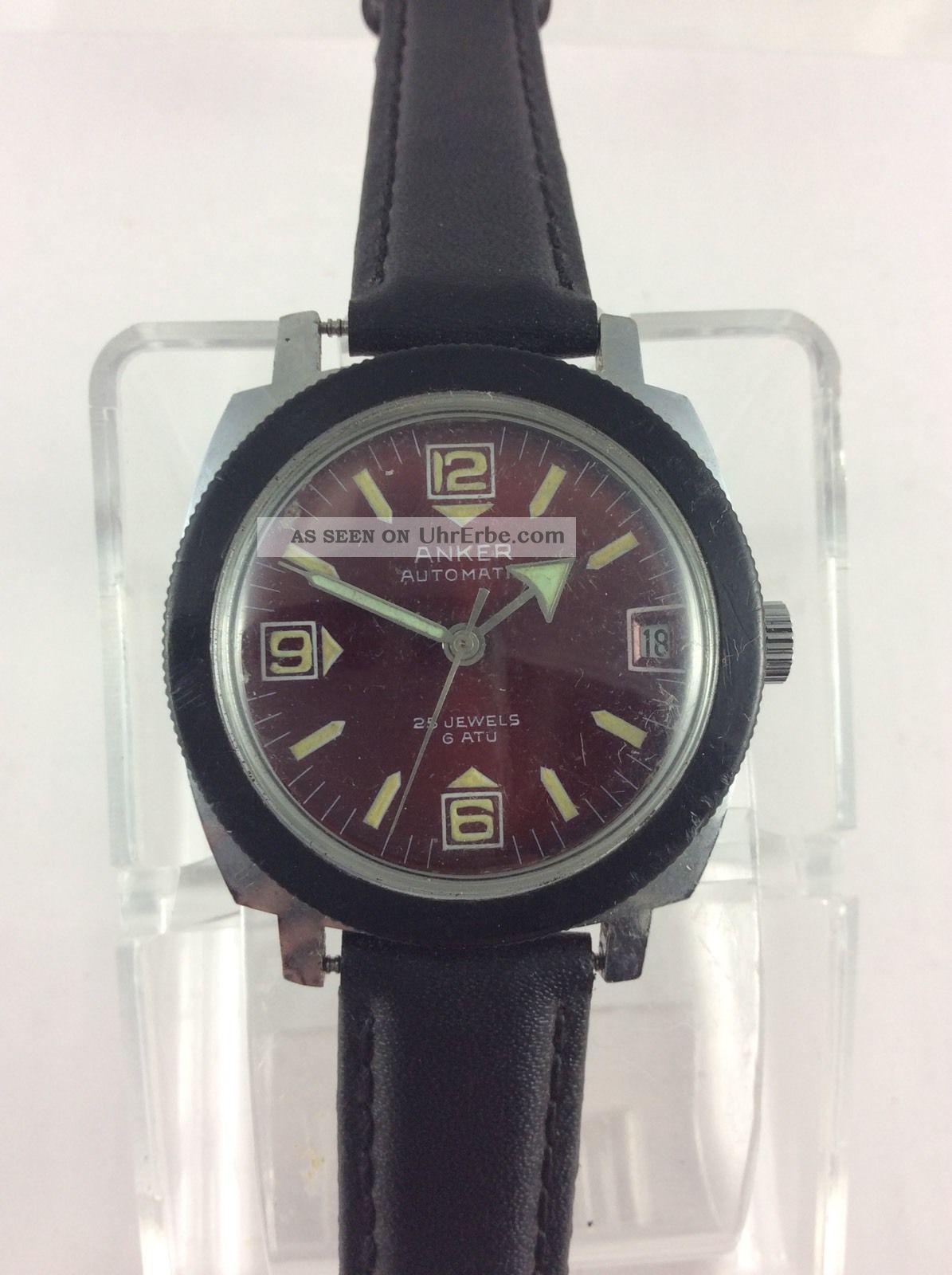 Anker Automatic Taucher Diver Top Selten RaritÄt Rotes Ziffernblatt 6 Atu Rare Armbanduhren Bild