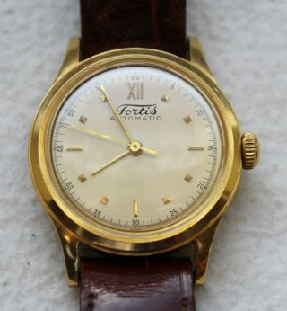Vintage Fortis Automatic 18k Gold Armbanduhr. Bild