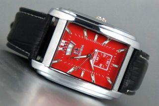 Automatik Edel Herrenuhr Mechanisch Datumsanzeige Rote Zifferblatt Leder Armband Bild