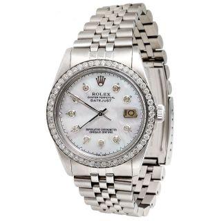 Herren Edelstahl Rolex Datejust Jubilee Diamant - Uhr - Weiß Mop DfÜ 3k Bild