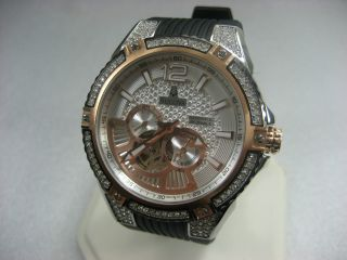 Bulova Automatisch 98a129 Selbstaufzug Herren Kleid Armbanduhr R/g/p & Kristall Bild