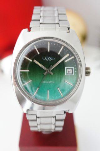 Vintage Watch Luxor Swiss Automatik Date 60er Jahre Stahl Green Dial Cal 2783 Bild
