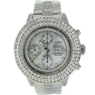 Armbanduhr Herren Breitling Chrono Superocean A13340 10k Diamanten Mop Bild