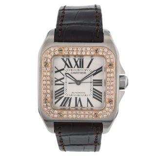 Armbanduhr Unisex Cartier Santor 100 W20107x7 Diamanten 18k Rotgold Automatik Bild