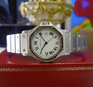 Cartier Santos Achteck - Gelbgold Edelstahl Mit Datums Anzeige Bild