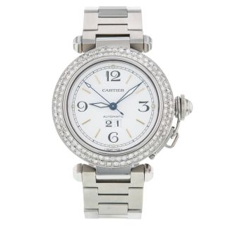 Frauen Uhr Cartier Pasha C 35mm Diamant Edelstahl Automatik Mittel Größe Bild