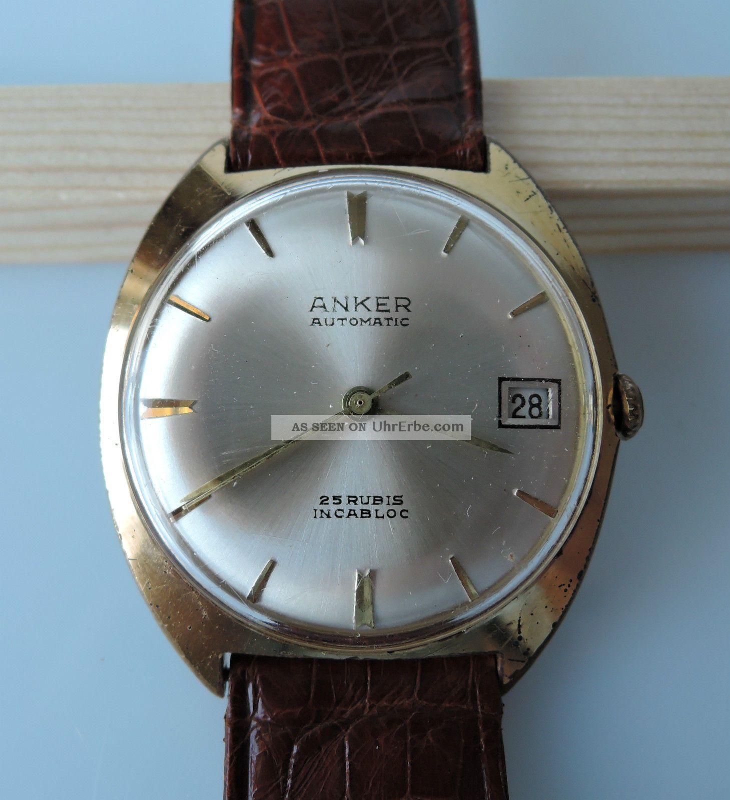 Anker Automatik Vintage Hau Datumsanzeige 25 Rubis Incabloc Watch Armbanduhren Bild