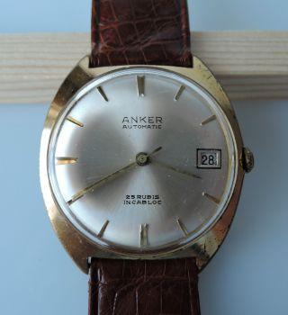 Anker Automatik Vintage Hau Datumsanzeige 25 Rubis Incabloc Watch Bild