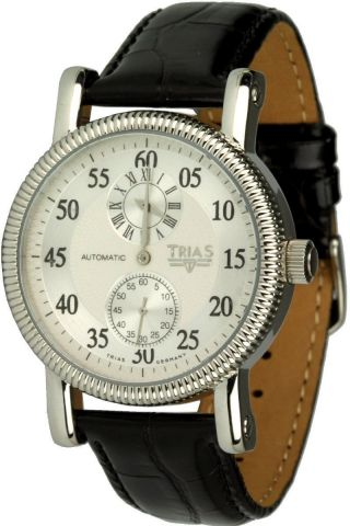Trias Uhren - Regulateur,  Herrenuhr Ø 40 Mm,  Automatikuhr,  Lederuhrband Bild