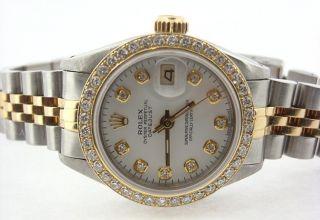 Damen - Rolex Date Nur Zuschauen Diamant Weißes Zifferblatt Lünette Bild